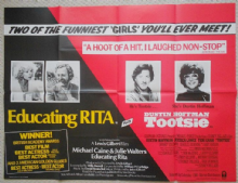 Educating Rita/Tootsie, Double Bill UK poster, Michael Caine, Dustin Hoffman '83